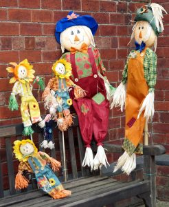 Colourful scarecrows outside the Methodist Hall.
